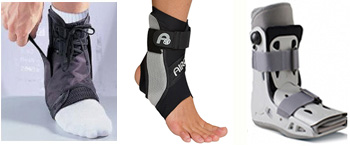 walking boot and ankle braces for sprained ankles